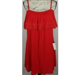 Bcx red dress with embroiderd flounce